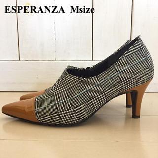 エスペランサ(ESPERANZA)の超美品 エスペランサ ブーティ グレンチェック エナメル M ブーツ(ブーティ)
