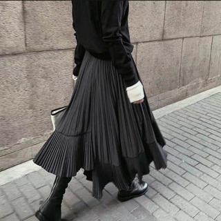 ZARA - アシンメトリープリーツスカート ブラック ワンサイズ インポート
