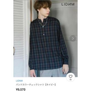 HARE - lidnm リドム  バンドカラー チェックシャツ