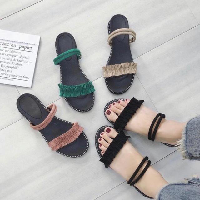【レディース フリルサンダル 2way フラット ピンク 23cm】 レディースの靴/シューズ(サンダル)の商品写真