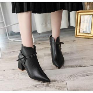 ファッション ブーティ ハイヒール 姫系 黒 PU 裏起毛 歩き安い a32(ブーツ)