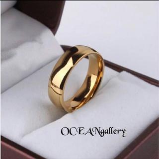送料無料 24号 ゴールド サージカルステンレス シンプル 甲丸 リング 指輪(リング(指輪))