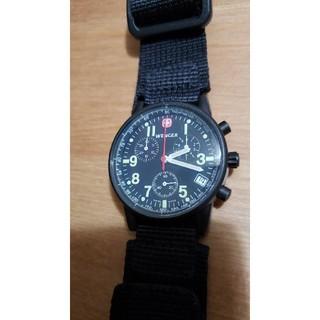 ウェンガー(Wenger)の稼働品WENGER クオーククロノグラフ ブラック(腕時計(アナログ))