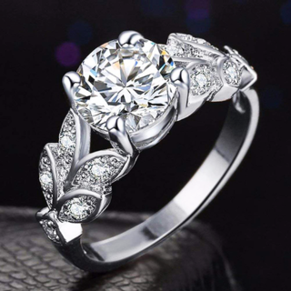 大きめキュービックジルコニアとリーフ模様が美しいリング ピンキーリング 指輪(リング(指輪))