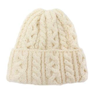 トゥモローランド(TOMORROWLAND)の一回使用 highland2000 ケーブルニット帽 ホワイト(ニット帽/ビーニー)