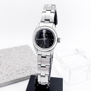 ロレックス(ROLEX)の【仕上済】ロレックス オイスター ゼファー 黒文字盤 シルバー 腕時計(腕時計)