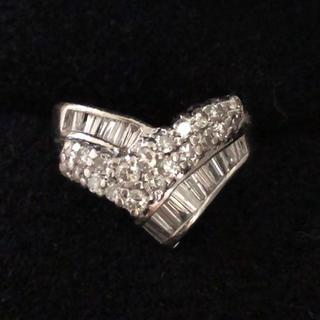 1カラット プラチナダイヤモンドリング プラチナリング ダイヤリング 7g(リング(指輪))