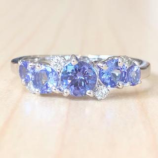 ✨12月誕生石✨タンザナイト❣️ダイヤモンド ダイヤ K18WG リング 指輪(リング(指輪))