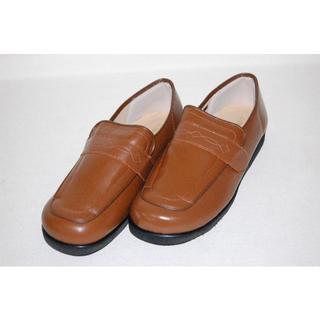 日本製ソフト牛革製 撥水加工 健康シューズ ブラウン 25cm(ローファー/革靴)