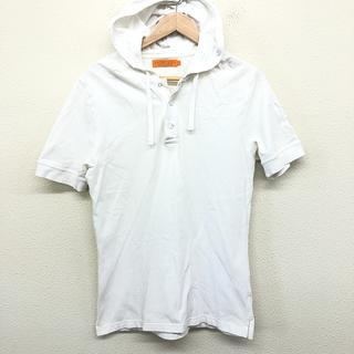 HYDROGEN - 美品 ハイドロゲン メンズ 半袖 Tシャツ パーカ 首元ボタン フード M 白