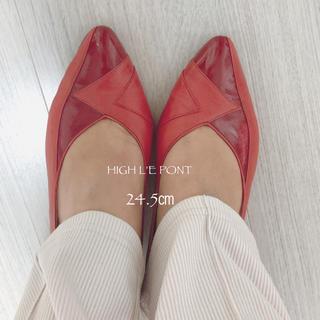 【HIGH L'EPONT】国産ヴィンテージ レザーパンプス 赤 24.5㎝ (ハイヒール/パンプス)