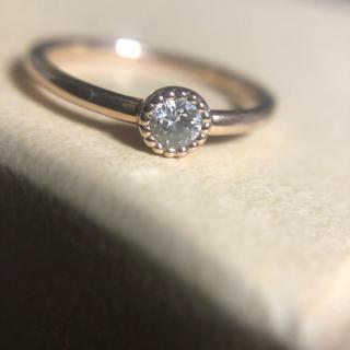 K18PG 0.16ctダイヤ綺麗リングミル打