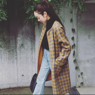 BEAUTY&YOUTH UNITED ARROWS - beauty&youth  チェック リバーシブル ガウンコート イエロー 36