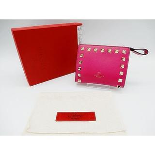 ヴァレンティノガラヴァーニ(valentino garavani)の■437 未使用 ヴァレンティノ 折財布 ウォレット ロックスタッズ ピンク(財布)