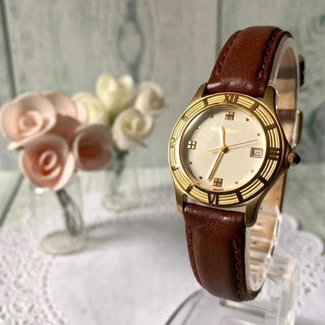 Saint Laurent - 【電池交換済み】Yves Saint Laurent 腕時計 ラウンド デイトの通販