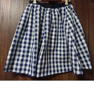 ランバンオンブルー(LANVIN en Bleu)のランバンオンブルーリバーシブル可愛いチェックのスカート(ひざ丈スカート)