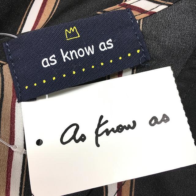 AS KNOW AS(アズノウアズ)のタグ付 美品 アズノゥアズ レディース ストライプ ワンピース F 黒 レディースのワンピース(ロングワンピース/マキシワンピース)の商品写真