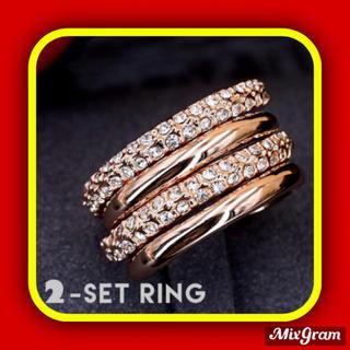 スワロフスキー(SWAROVSKI)の✨定価9800円✨★SWAROVSKI★ 2点 ジェム ゴージャス 指輪 リング(リング(指輪))