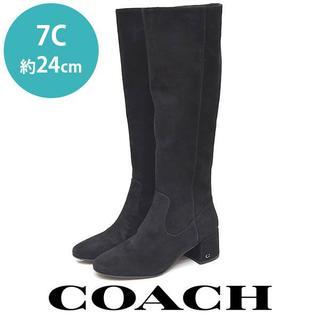 COACH - 美品❤️コーチ ヒール ロゴ スウェード ロングブーツ 7C(約24cm)