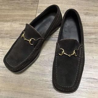 グッチ(Gucci)の【SALE】グッチ ローファー ホースビット スエード 茶 34 1/2C(ローファー/革靴)