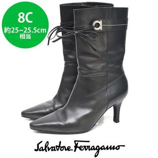 ルイヴィトン(LOUIS VUITTON)のフェラガモ ガンチーニ リボン ミドル ショート ブーツ 8C(約25-25.5(ブーツ)