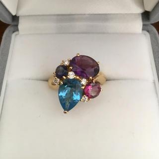 ダイヤモンド×アメジスト×ブルートパーズ リング K18YG 5.8g(リング(指輪))