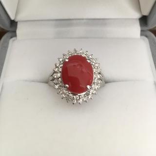 ダイヤモンド×血赤珊瑚 リング Pt900 3.50ct 0.50ct 7.3g(リング(指輪))