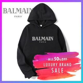 バルマン(BALMAIN)のBALMAIN バルマン ロゴパーカーBLACK 韓国 サイズM(パーカー)