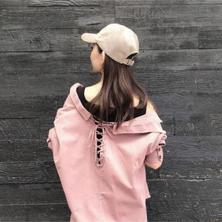 COCO DEAL - 2019AW パックレースアップ コーデュロイシャツ ピンク