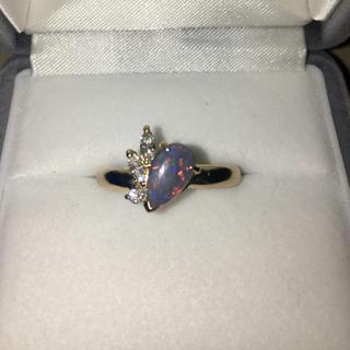 ダイヤモンド×ブラックオパール リング K18YG 0.759ct 5.7g(リング(指輪))