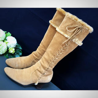 スウェードブーツ*レディース 高級ブーツ*22.5㎝*23㎝(ブーツ)
