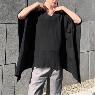 Vネック 変形トップス/黒 ボックス形Tシャツ モダンエスニック ウィメンズ仕様