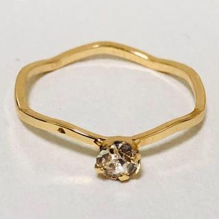 K18 ウェーブデザインのダイヤ調リング(リング(指輪))