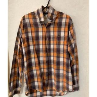 グローバルワーク(GLOBAL WORK)の秋服メンズ**オレンジチェックシャツ グローバルワーク 重ね着 メンズ(シャツ/ブラウス(長袖/七分))