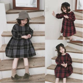 専用ページ☆裏起毛☆グレンチェックのあったかワンピ100㎝黒、120㎝赤(ワンピース)