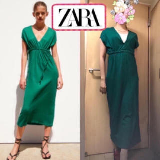 ZARA - 新品 ZARA  緑 グリーン マキシワンピース