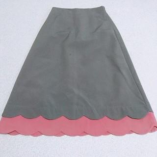 merlot - メルロープリュス 裾スカラップ ロングスカート