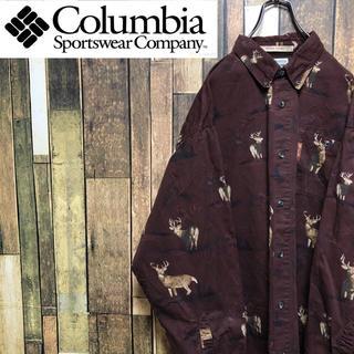 Columbia - 【激レア】コロンビア☆アニマル柄シカ柄総柄ロゴタグ入りハンティングシャツ