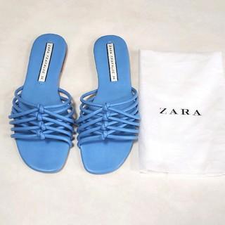 ザラ(ZARA)の美品 ZARA ザラ 水色 ブルー 36 フラットサンダル ぺったんこサンダル(サンダル)