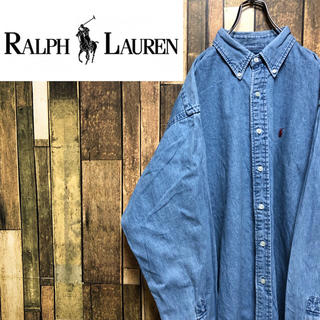 Ralph Lauren - 【激レア】ラルフローレン☆ワンポイント刺繍ロゴ入りビッグデニムシャツ 90s