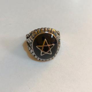 ラルクhyde愛用タイプ 五芒星リング 指輪  黒色14号(リング(指輪))