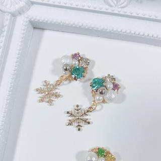 プリンセス♡エルサイメージカラービジュー×雪の結晶★アナ雪(イヤリング)