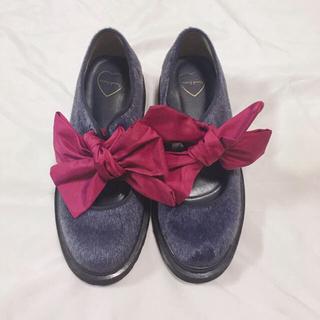 メリージェニー(merry jenny)のmerry jenny  ハラコライクbigリボンシューズ(ローファー/革靴)