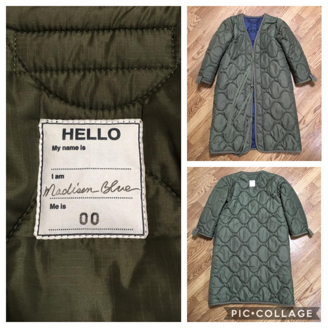 MADISONBLUE(マディソンブルー)の【MADISONBLUEマディソンブルー】 キルティングノーカラーコート/カーキ レディースのジャケット/アウター(ロングコート)の商品写真