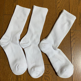 アツギ(Atsugi)の【ジャスミン様】アツギ 無地 白 スクールソックス 24〜26㎝ 2足と厚底1足(靴下/タイツ)