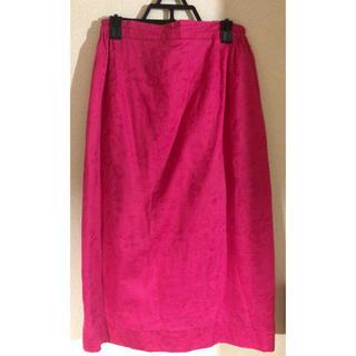 マメ(mame)のROSE vintage購入 ジャガード織風スカート ビビッドピンク(ひざ丈スカート)