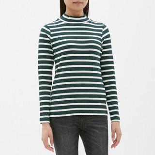 ジーユー(GU)のボーダーハイネックT(長袖)BB GU ジーユー ダークグリーン(Tシャツ(長袖/七分))