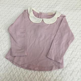 petit main - プティマイン 80cm スカラップ衿長袖Tシャツ ピンク