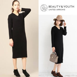 BEAUTY&YOUTH UNITED ARROWS - BEAUTY&YOUTH*リブVネックニットワンピース 定価1.6万