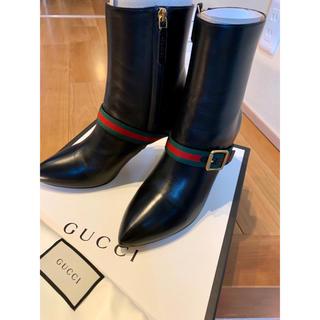 グッチ(Gucci)の【GUCCI】新品未使用 希少 シェリーライン ウェブストライプ レザーブーティ(ブーツ)
